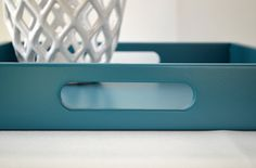 Teal Blue 16 X 16 Wood Square Serving Tray by GleamingRenditions