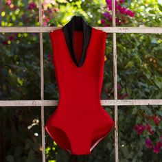 High Neck Leotard in Red and Black Bold Colors from Luckyleo Dancewear