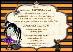 Little Witch Birthday party Invitation/ Halloween Party Witch Themed Invitation