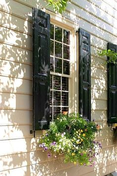 shutters with window boxes. for east & south sides of house White Cottage, Cozy Cottage, Garden Cottage, Cottage Style, Diy Pergola, Gazebo, Diy Shutters, Cottage Shutters, Black Shutters