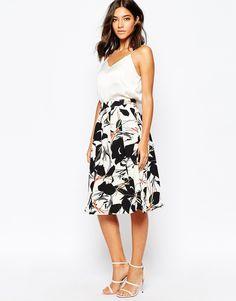 Image 1 ofWarehouse Abstract Poppy Midi Skirt