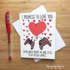 Cute Love Card for Video Game Lovers, Happy Anniversary Card, Love Greeting Cards, Romantic Card, Valentine's Day Card for Boyfriend - Valentines cards Creative Gifts For Boyfriend, Cute Boyfriend Gifts, Birthday Cards For Boyfriend, Valentines Gifts For Boyfriend, Boyfriend Crafts, Valentine Day Cards, Valentines Diy, Boyfriend Card, Anniversary Boyfriend