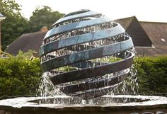 Nebula 4 water sculpture, rotating under water power as the water spirals downward from the copper (re-enforced) Giles Rayner Sculptor Water Sculpture, Sculpture Metal, Garden Sculpture, Fountain Design, Steel Art, Water Features In The Garden, Garden Fountains, Installation Art, Garden Art