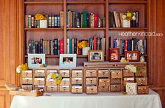 A card catalog can double as a family tree: | 31 Beautiful Ideas For A Book-Inspired Wedding