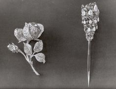Faberge Diamond brooch representing a Rose with leaves - Part of the Russian crown jewels before being sold