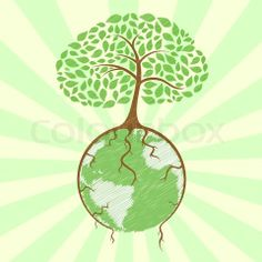 Stock vector of 'illustration of tree holding globe with its roots on sunburst background'