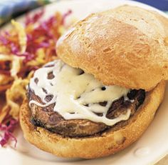 In this recipe, the portabella is served whole, like a hamburger. If a whole cap doesn't fit on your bread, slice the cap on the diagonal, put the slices on the bread, top with cheese, and then broil.