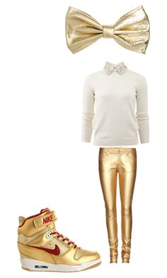 white and gold by jsf2004 on Polyvore featuring Valentino, Yves Saint Laurent, NIKE and H&M
