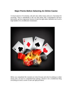 Major points before selecting an online casino by tobwin via slideshare