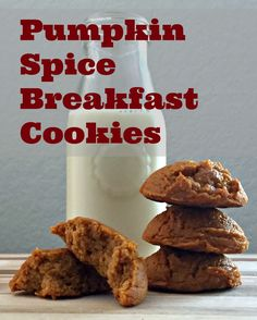Pumpkin Spice Breakfast Cookies made with oat flour, protein and stevia. These low calorie protein treats are perfect for breakfast or a treat on the go.