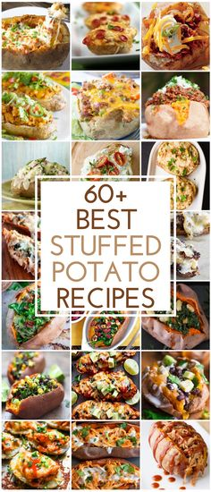 Baked potatoes are filling cheap and versatile. With these stuffed potato recipes you can enjoy potatoes as a lunch or dinner main entree add a salad and youve got a delicious and satisfying meal. Baked Potato Fillings, Baked Potato Recipes, Potato Meals, Stuffed Baked Potatoes, Twice Baked Potatoes, Cheesy Potatoes, Mashed Potatoes, Potato Skins, Jacket Potato Recipe