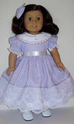 Spring lavender dress fits American Girl and similar 18 inch dolls