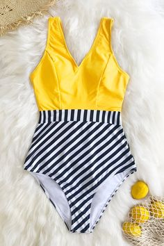 Yellow V-Neck and Striped Bottom One-Piece Swimsuit Buy Now Summer Bathing Suits, Cute Bathing Suits, Modest Swimsuits, Cute Swimsuits, Bikini Swimwear, Bikini Tops, Bh Push Up, Jolie Lingerie, Striped One Piece