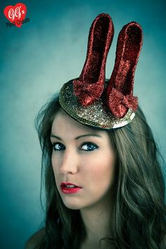 ruby slippers wizard of oz fascinator red shoes pinup kitsch ascot
