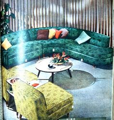 ~ Dream Living Rooms ~ (1950's)..our sectional was cocoa brown with Mother's turquois chair...pretty combination ...had a tile mosaic kidney shaped coffee table