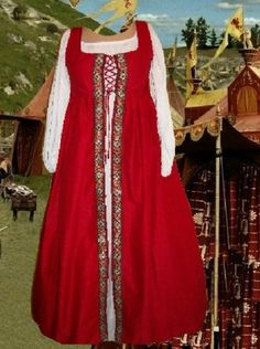 Renaissance Gown SCA Garb Medieval Costume Redfloral Irishstylovrdr Sz Flex LXL | eBay