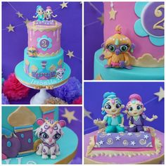 Shimmer and Shine birthday cake with hand modelled fondant figures https://www.facebook.com/BibbidyPOPity