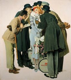 """Norman Rockwell """"Movie Starlet and Reporters"""" (1936)"""