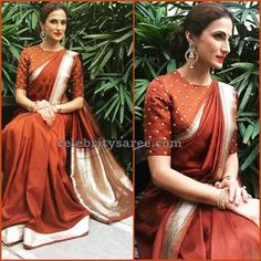 Showcasing few stunning pictures of Designer Shilpa Reddy Sarees who was spotted in ethnic wear. She paired classic benaras and kanjivarams. Best Indian Sari CLICK VISIT link above to read Blouse Designs High Neck, Sari Blouse Designs, Saree Blouse Patterns, Indian Sarees, Silk Sarees, Saris, Kanjivaram Sarees, Fancy Sarees, Indian Dresses