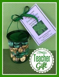 St. Patrick's Day Teacher Gift with printable. From Marci Coombs' Blog