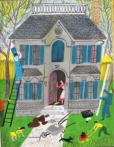 House Of Four Seasons vintage illustration. #vintage #illustrations