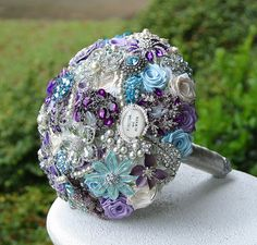 Purple and Blue Wedding Brooch Bouquet. Deposit on made to order Heirloom Bridal Broach Bouquet.