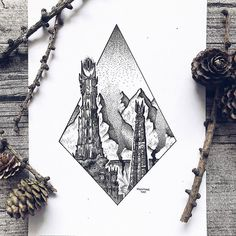 Artist Draws Millions of Tiny Dots to Calmly Ease Her Anxiety And The Results Are Amazing – Swedish illustrator Josefine Svärd creates fantastical stippling art… Tatouage Tolkien, Tolkien Tattoo, Lotr Tattoo, Hobbit Tattoo, Hobbit Art, The Hobbit, Ring Tattoos, Sleeve Tattoos, Nerd Tattoos