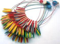 vintage knitting needle necklace