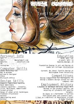Textile Designer CV Artist Cv, Artist Resume, Creative Cv Template, Creative Resume, Cv Design, Resume Design, Design Concepts, Graphic Design, Fashion Cv