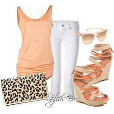 Love this outfit from Stylish Eve. Wish I knew where to get these fabulous finds! Cool Outfits, Summer Outfits, Casual Outfits, Summer Clothes, Summer Fashions, Casual Wear, Peach Outfits, Nice Clothes, Orange Outfits