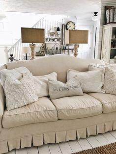 Farmhouse style living room - A great blog for farmhouse decor sources & inspiration! #FarmhouseLamp