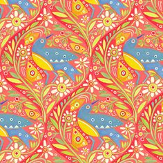 Medium Bird in Coral  Chickadee by Julie Paschkis  by MoonaFabrics, $9.50