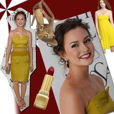 Leighton Meester yellow dress, hair, makeup
