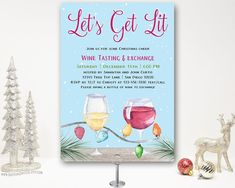 Celebrate the season with a Christmas wine tasting and exchange holiday party. Invitation features red and white wine and Christmas lights. 18th Birthday Party Themes, Holiday Party Themes, Graduation Party Themes, Halloween Party Themes, Holiday Parties, Christmas Cocktail Party, Adult Christmas Party, Christmas Cocktails, Christmas Dinner Invitation