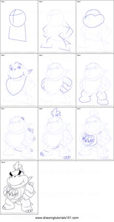 How to Draw Bowser Jr. Standing from Super Mario step by step printable drawing sheet to print. Learn How to Draw Bowser Jr. Standing from Super Mario Drawing Practice, Drawing Lessons, Drawing Sheet, Drawing Sketches, How To Draw Mario, Mario Coloring Pages, Princesa Peach, Super Mario Art, Jr Art