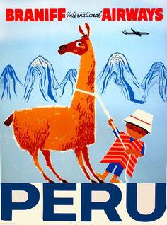 Peru Inca South America Little Boy Llama Vintage Travel Advertisement Poster | eBay