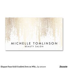 Elegant Faux Gold Confetti Dots on White Double-Sided Standard Business Cards (Pack Of 100) - Personalize for yourself today! Perfect business cards for makeup artists, salons, interior designers, stylists, boutiques and more.