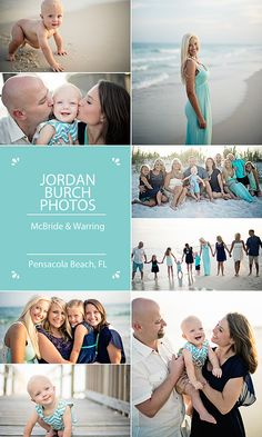 Family Beach Portraits, great outfits and colors!