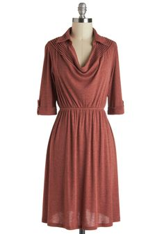 Spiced Sweets Dress - Short, Orange, Solid, Casual, A-line, 3/4 Sleeve, Fall, Collared