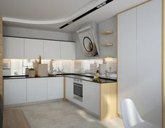 Minimalist White Kitchen Design With Modern Black Top Kitchen Cabinet And Modern Wall Box Shelves