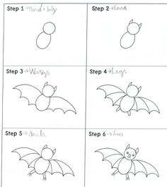 Hello children, do you know how to draw a bat? Look: Our bats: by M. - Hello children, do you know how to draw a bat? Look: Our bats: by Marco K. by Naim. Halloween Doodle, Theme Halloween, Halloween Drawings, Cartoon Bat, Cartoon Drawings, Animal Drawings, Drawing Animals, Draw A Bat, Bats For Kids