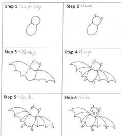 Muzische vorming' hoe teken ik een vleermuis