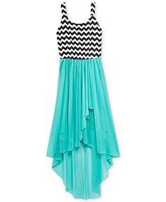 Ruby Rox Girls' Chevron-Print High-Low Dress - Kids Girls 7-16 ...