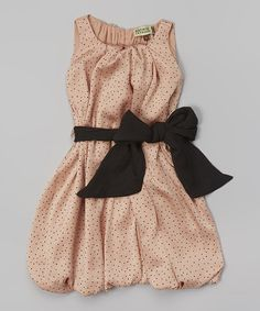 Look at this Sophie Catalou Peach Dot Bow Dress - Infant, Toddler & Girls on #zulily today!