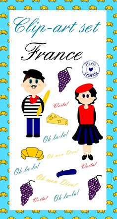 """This adorable clip-art set is a ready to use collection of images symbolizing France. The set consists of 8 high-resolution clip-art images as well as digital paper page and page border in 300 dpi, .png format (digital paper in .jpg). All images are with transparent background. Please note, no black-and-white version included!  The set includes images of: • little French gentleman; • miniature French lady; • cheese; • grapes; • baguette; • croissant; • stamp """"Paris-France""""; • beret;"""