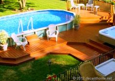 above ground pool decks | How to Build a Deck Around an Above Ground Pool Oval Above Ground Pools, Best Above Ground Pool, Above Ground Swimming Pools, In Ground Pools, Sloped Backyard, Backyard Deck Ideas On A Budget, Cheap Deck Ideas, Pool Ideas, Wooden Decks