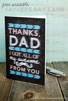 Free Printable Chalkboard Father's Day Card | Instant Download | Just fold, fill in and bring a smile to pop.