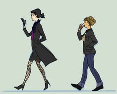 Sherlock Holmes & John Watson, genderbender art. OH MY GOSH, I COULD COSPLAY THEM.
