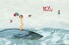 Geboortekaartje Felix - voorkant - Pimpelpluis - https://www.facebook.com/pages/Pimpelpluis/188675421305550?ref=hl (# jongen - vogel - ballon - zee - walvis - baby - dieren - zeepaardje - vintage - origineel - speciaal)