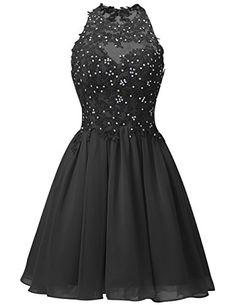 a38a3b6c92c98e Dresstells® Short Chiffon Halter Neck Prom Dress With Appliques Homecoming  Dress  Amazon.co.uk  Clothing
